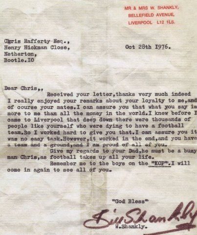 Shankly's letter