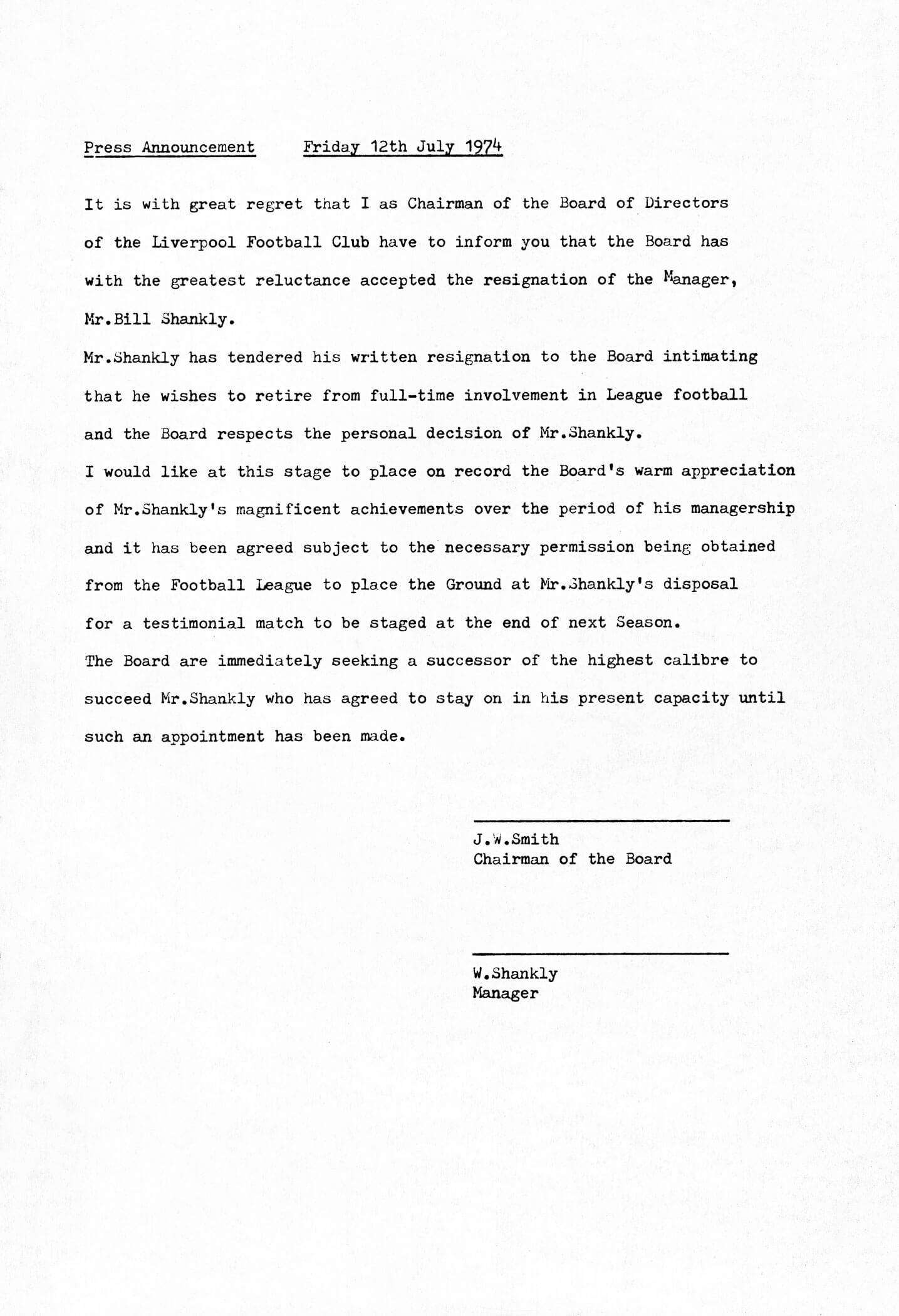 Bill Shankly's Resignation