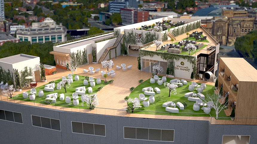 CGI Garden of Eden roof top space in Liverpool