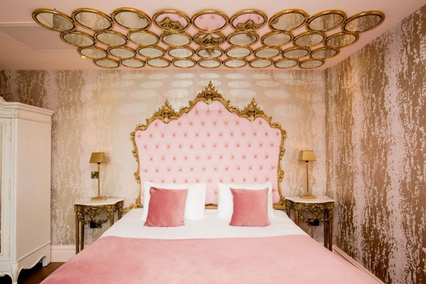 each suite is unique and designed around the sin its named after featuring vivid blue dcor or desirable pink detailing with ornate gold foiling that will