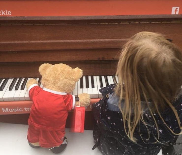 Bill the Bear learning to play piano - kid friendly hotels in Liverpool