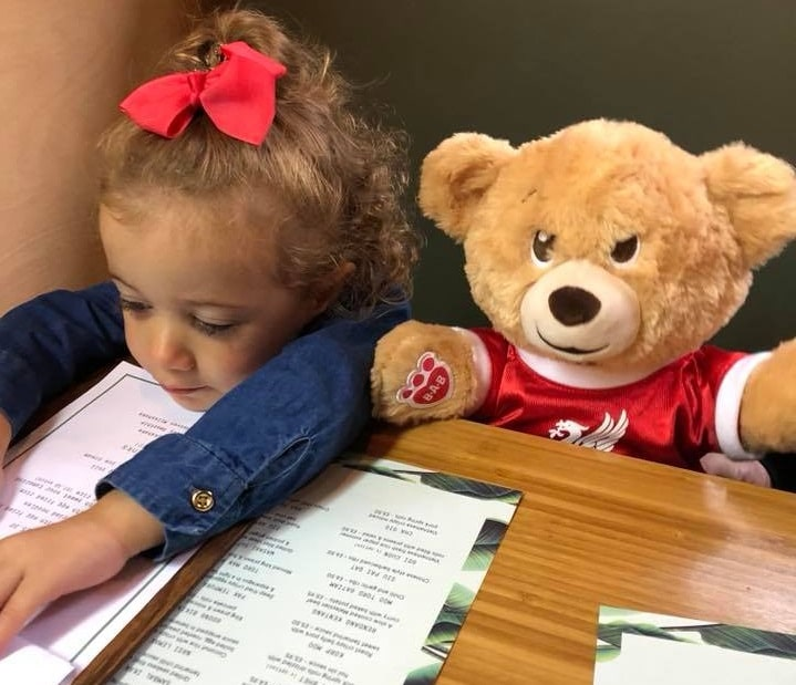 Bill the Bear out for lunch - kid friendly hotels in Liverpool