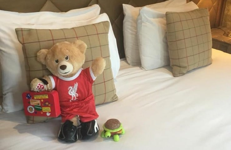 Bill the Bear relaxing in The Shankly Hotel - kid friendly hotels in Liverpool