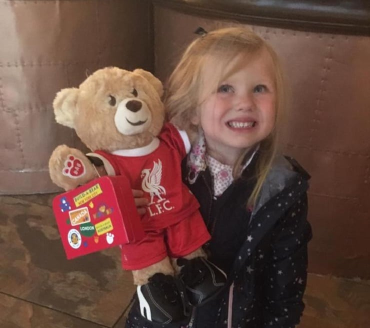 Meeting Bill the Bear - kid friendly hotels in Liverpool